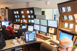 Railway control room showing communications equipment 250
